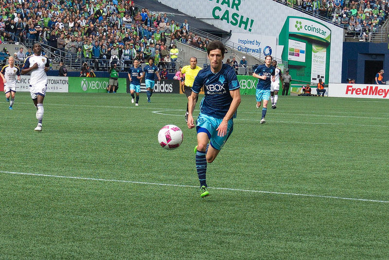 Seattle Sounders midfielder Alvaro Fernandez plays at Century Link Field in Seattle on October 23, 2016.Seattle Sounders midfielder Alvaro Fernandez plays at Century Link Field in Seattle on October 23, 2016.