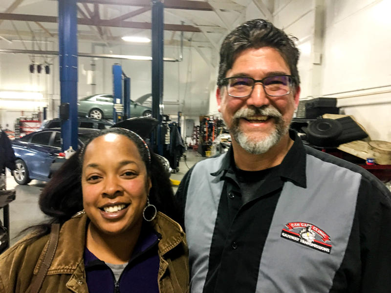 Democrat Germaine Kornegay and Republican Bill Orsborn try to bridge the partisan divide at Gateway Car Clinic and Transmissions in Mount Vernon, Washington