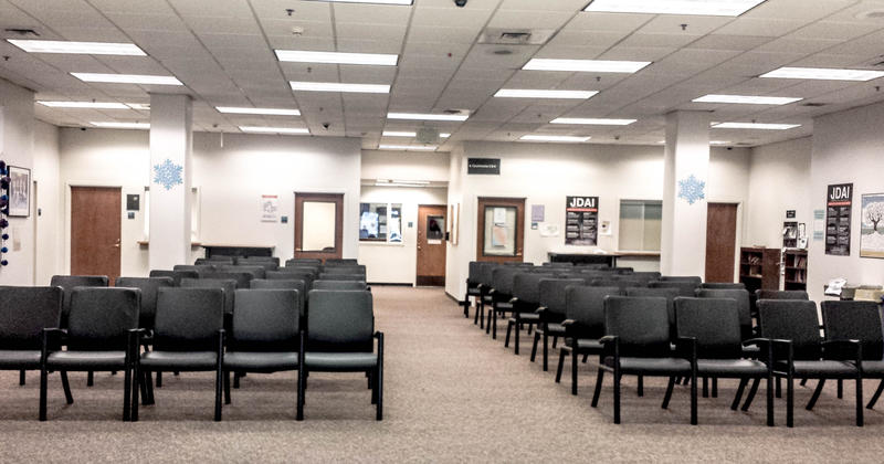 The lobby at the King County juvenile detention center lacks privacy, jail workers say.