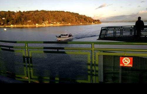 A still from a video taken aboard a Washington state ferry as it crashed into Nap Tyme.