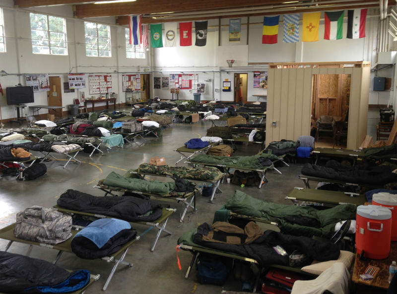 The National Guard Armory in Snohomish, Washington, being used as a barracks during the 2014 search for survivors of the Oso landslide. In 2016, tests found lead dust in the armory at up to 65 times federal safety standards.