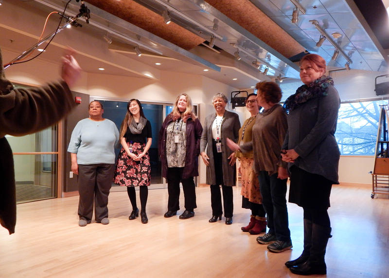 Seven KUOW women participated in creating Lucia Neare's wail in Seattle on election night.