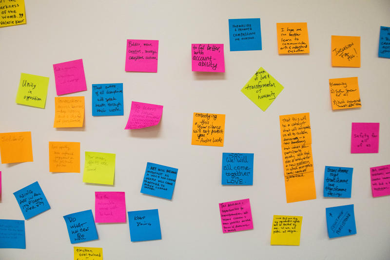 Attendees wrote their fears on Post-its, then placed them on this wall.
