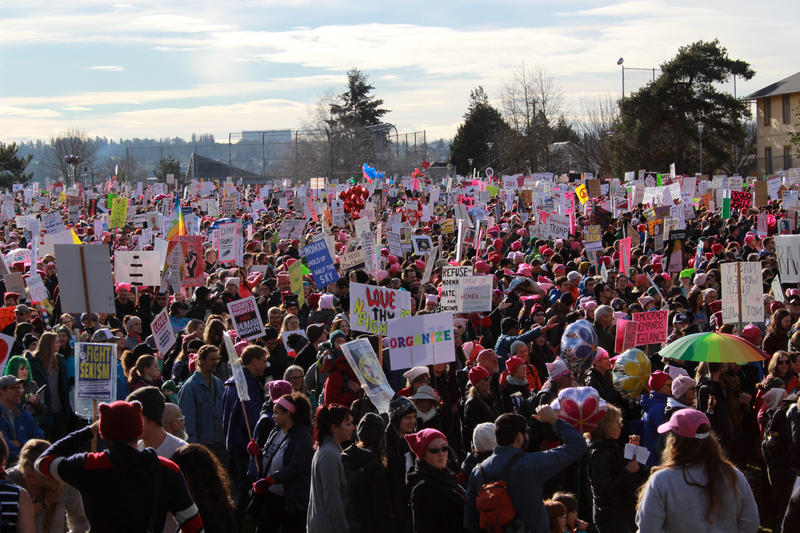 The beginning of the Seattle womxn's march at Judkins Park on Saturday morning in Seattle. The march was packed for the length of the route, which extended 3.6 miles.