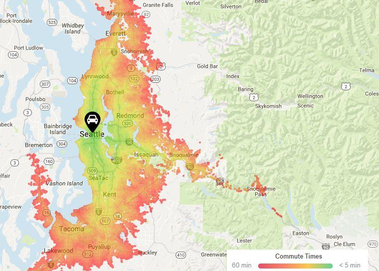 This heat map produced by real estate company Trulia shows the commute times for Seattle residents. The warmer the color, the longer the commute away from Seattle's core.