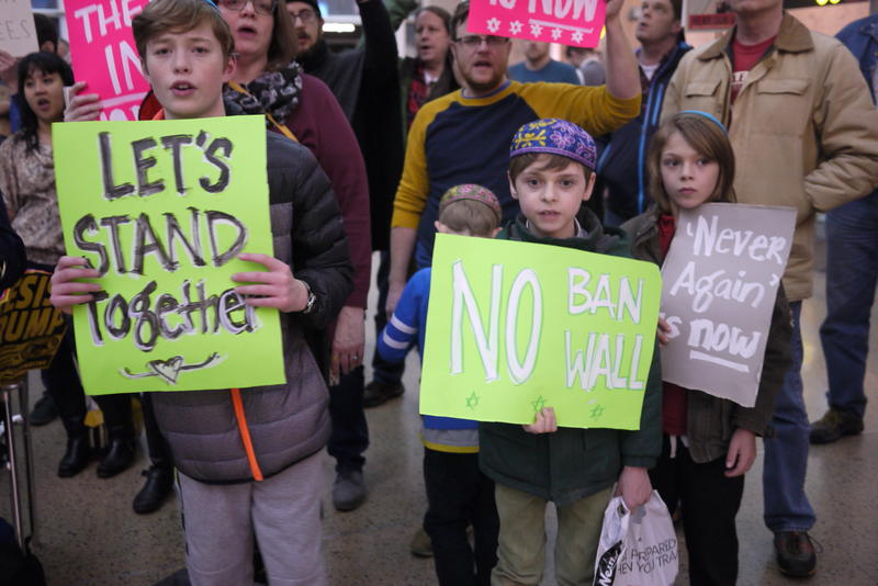 Jewish children protest the so-called Muslim travel ban at Sea-Tac International Airport.