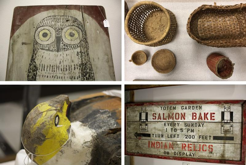Relics collected or created by William Shelton, stored at the Hibulb Cultural Center