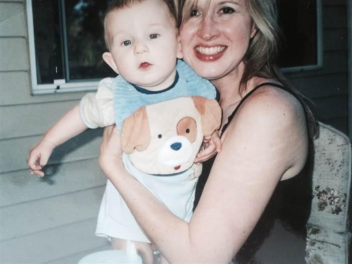 Linda Dahlstrom Anderson with her son Phoenix on Father's Day