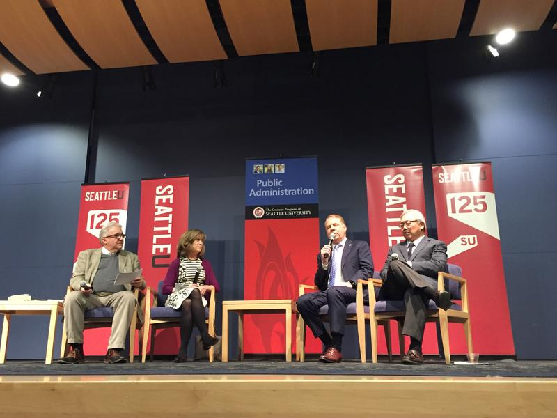 Larry Hubbel, Joni Balter, Seattle Mayor Ed Murray and San Francisco Mayor Ed Lee at Seattle University