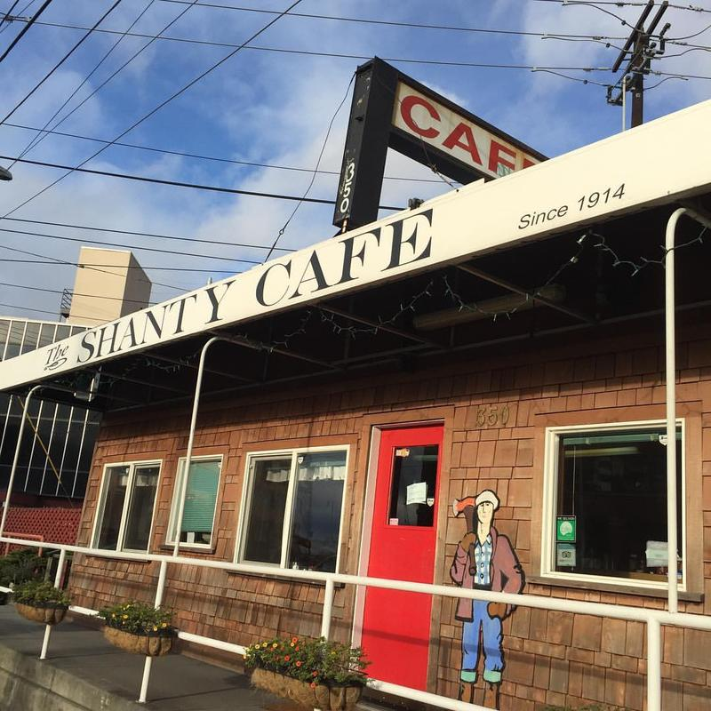 Shanty Cafe on Elliott Ave. 'The building was originally a pay station for dock workers, and became 'Violet Shanty' restaurant in 1914 — and they have a menu from the '30s hanging inside.' - @vanishingseattle