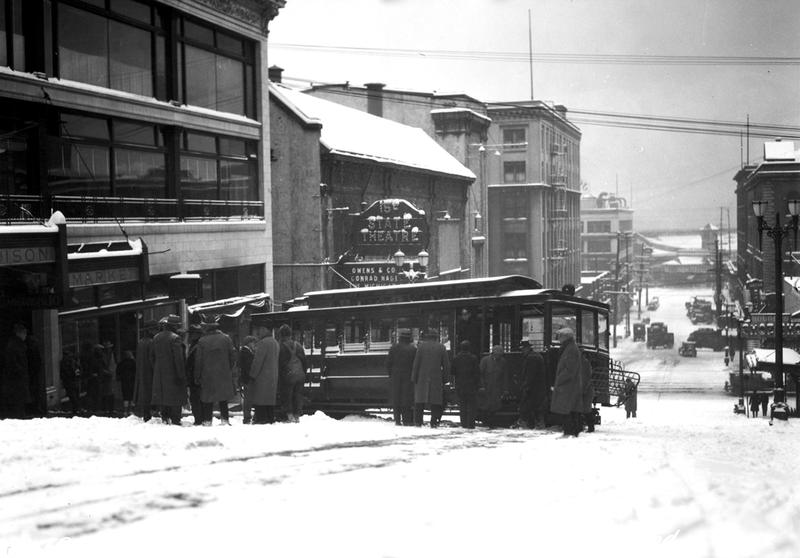 In the grand tradition of Seattle's public transportation going ass over tea kettle: Madison Street Cable Car derailed in Snow First and Second Avenues, January 1929.