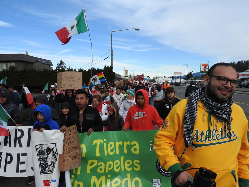 Familias Unidas por La Justica and supporters march today in Burlington