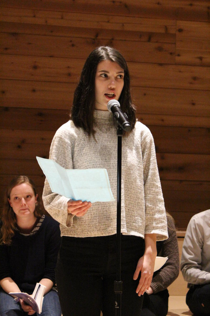 UW student Emma Spickard reads stories from the UW Vulnerability Collective