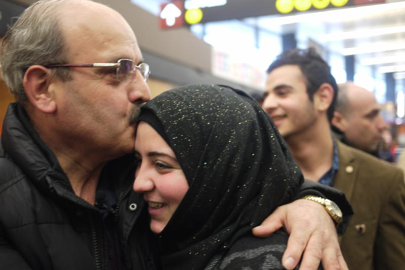 Ahmad Al Halabi and daughter, Jaidaa, reunite at Sea-Tac Airport.