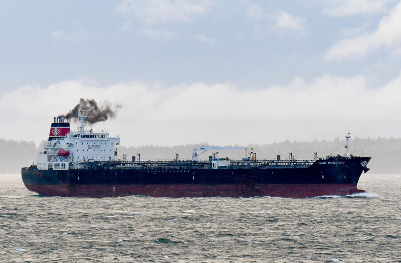 The High Mercury tanker, part of a fleet co-owned by Commerce Secretary nominee Wilbur Ross, in Haro Strait with Vancouver Island in the background Feb. 15.
