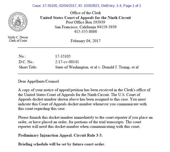 Click to enlarge: Letter from the Department of Justice announcing intent to appeal Judge James Robart's decision to pause Donald Trump's executive order, also known as the 'Muslim ban' or the 'travel ban.'