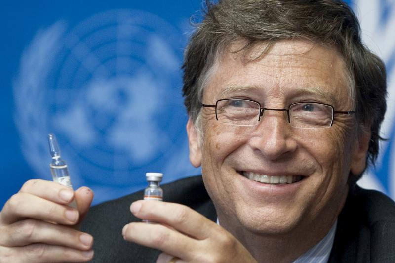 Bill Gates, Co-Chair the Bill & Melinda Gates Foundation shows a vaccine during a press conference in 2011.