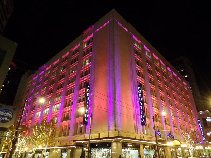 Nordstrom in pink, downtown Seattle, November 2014.