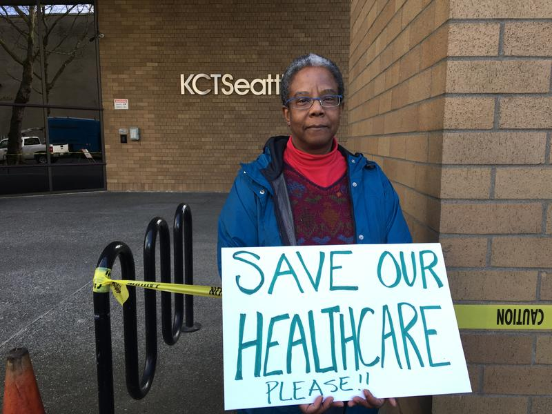Ramona Zuill of Seattle outside the KCTS-9 studios during Rep. Dave Reichert's Facebook Live event on Thursday, Feb. 23, 2017.
