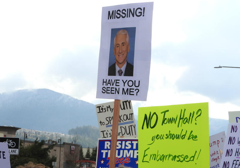 Protest signs near Republican Congressman Dave Reichert's office in Issaquah on Thursday, Feb. 23, 2017.