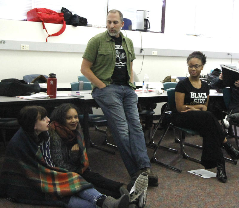 Jon Greenberg, center, includes aspects of ethnic studies in his 12th-grade Social Justice and Civic Engagement class – something his students say helps them understand themselves and the world around them.