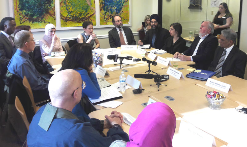 Faith leaders meet with U.S. Sen. Maria Cantwell at the Jewish Federation of Seattle on Friday to discuss recent hate crimes.