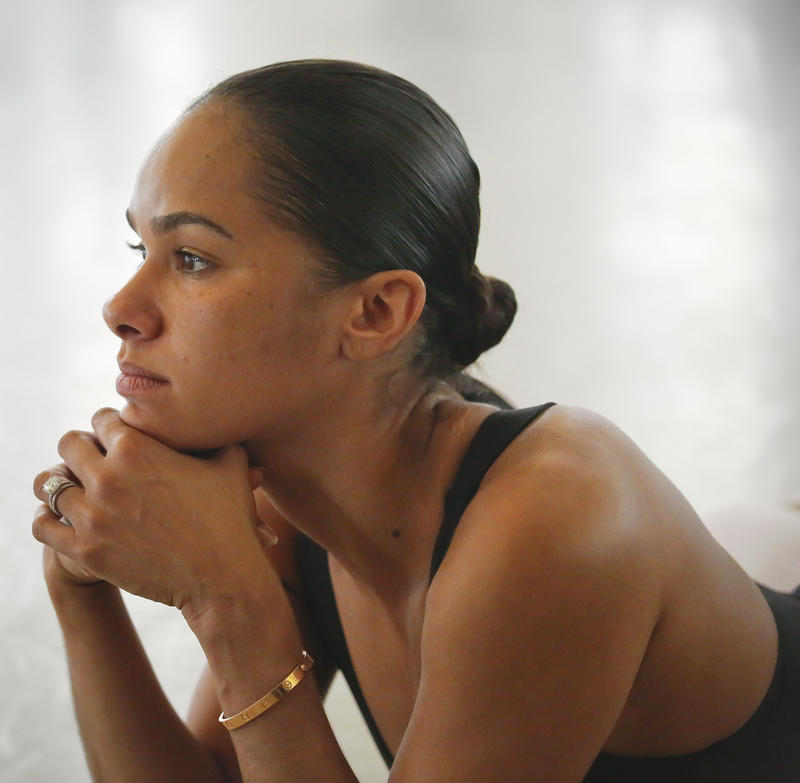 In this March 21, 2017 photo, Misty Copeland, first African-American female principal dancer with the American Ballet Theatre, appears at the Steps on Broadway dance school in New York.