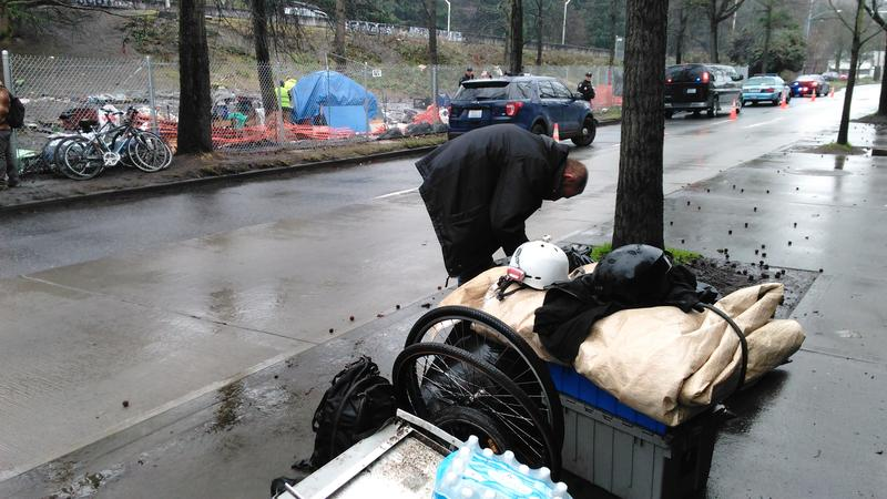 George Kerns is moving to another homeless camp. He knows it won't be the last time he's told to move on
