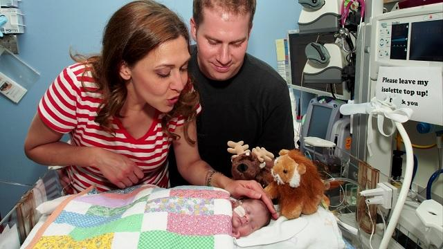 Rep. Jaime Herrera Beutler, Republican from Clark County in southwestern Washington state, with her husband Dan Beutler and their baby Abigail in 2013. Abigail is the first baby to survive without kidneys.