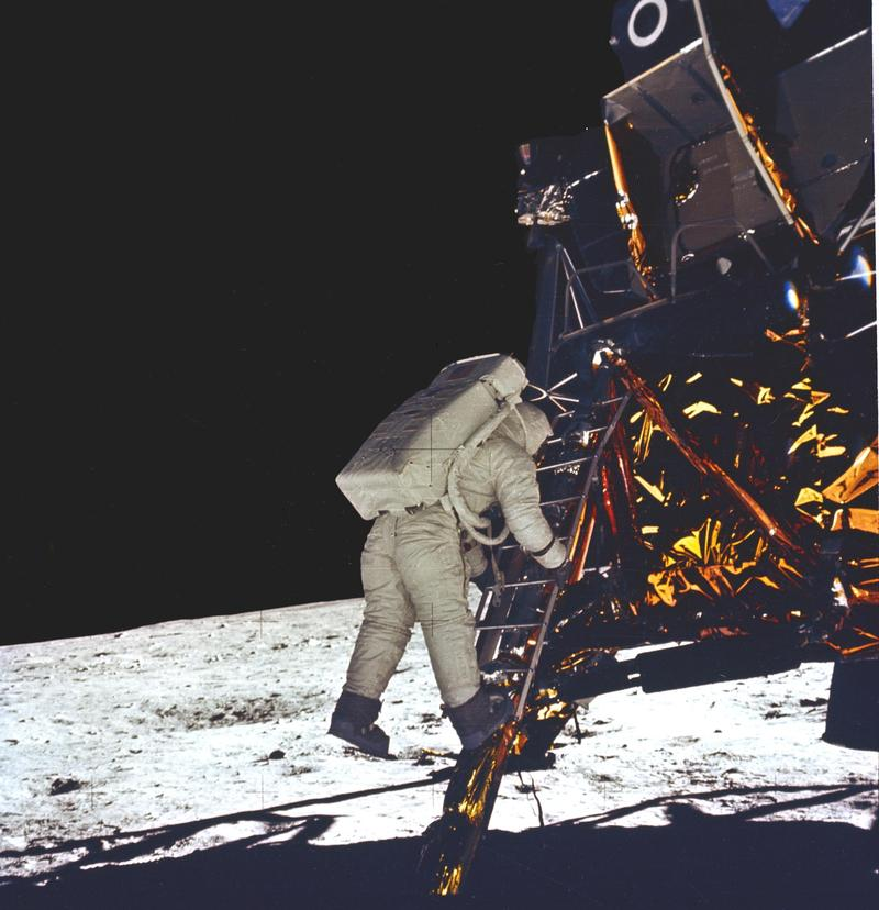 Buzz Aldrin about to step on the moon on July 21, 1969
