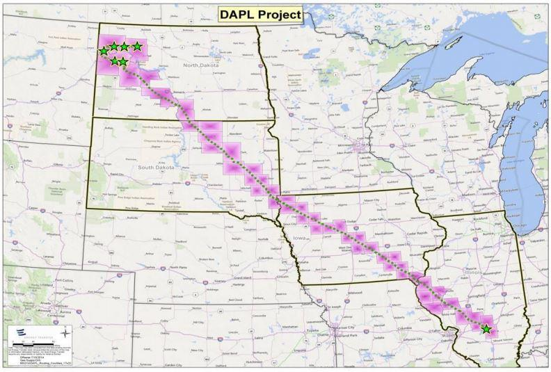 The route for the proposed Dakota Access Pipeline, which links up with the Bakken Pipeline.