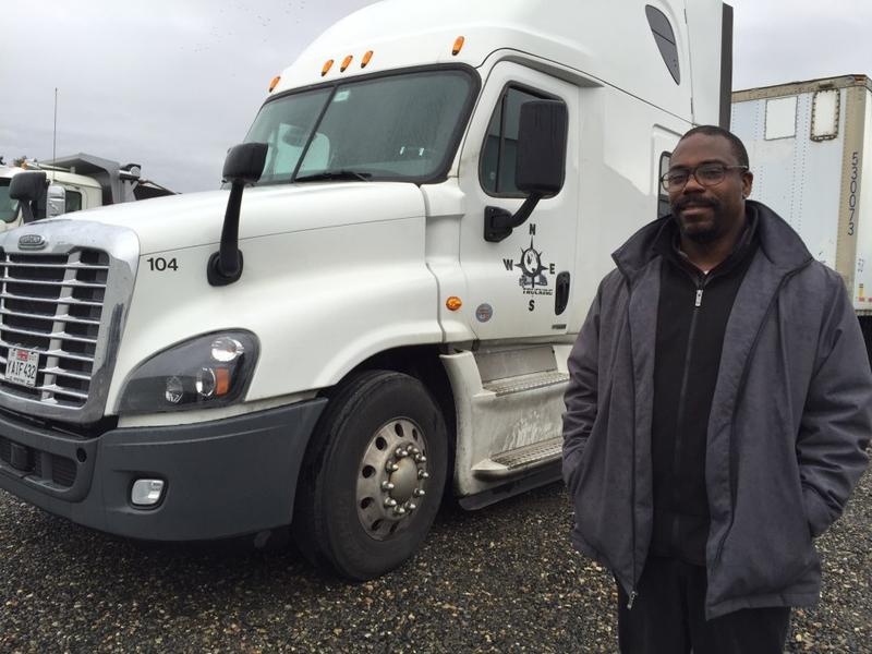Gary Holland of Northeast Southwest Trucking in Portland used clean diesel grant money to replace four of his old diesel trucks with new ones, including this 2016model.