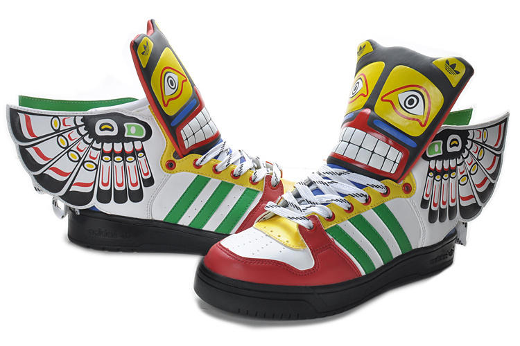 Adidas Thunderbird athletic shoes, adapted from a traditional Kwakwaka' wakw Thunderbird