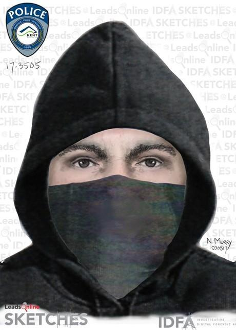Sketch of a possible suspect in the shooting of a Sikh man in Kent.