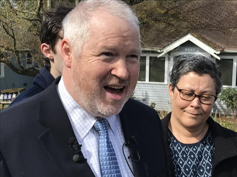 Mike McGinn announces his candidacy for mayor outside his home in Seattle's Greenwood neighborhood.