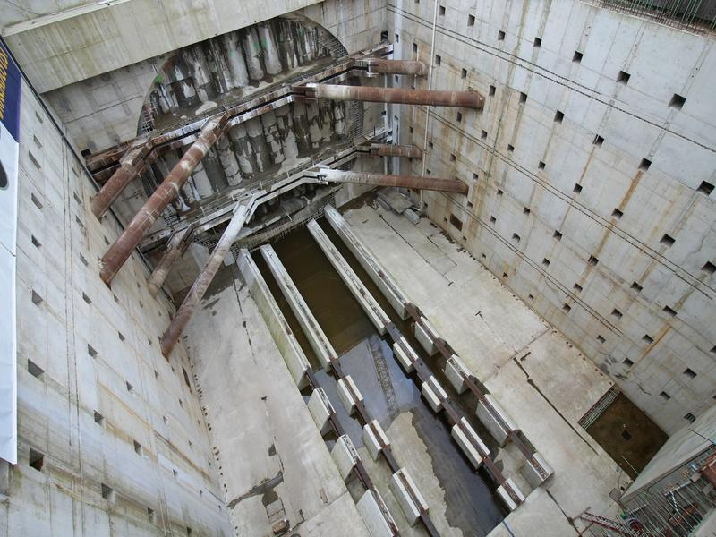 Seattle's tunneling machine known as Bertha is expected to push through this five-foot-thick concrete wall today.