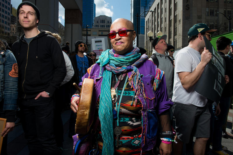 'If you feel it in your heart that means the drum is working,' said Mama Love, during a Black Lives Matter rally and march in Seattle Saturday April 15, 2017.
