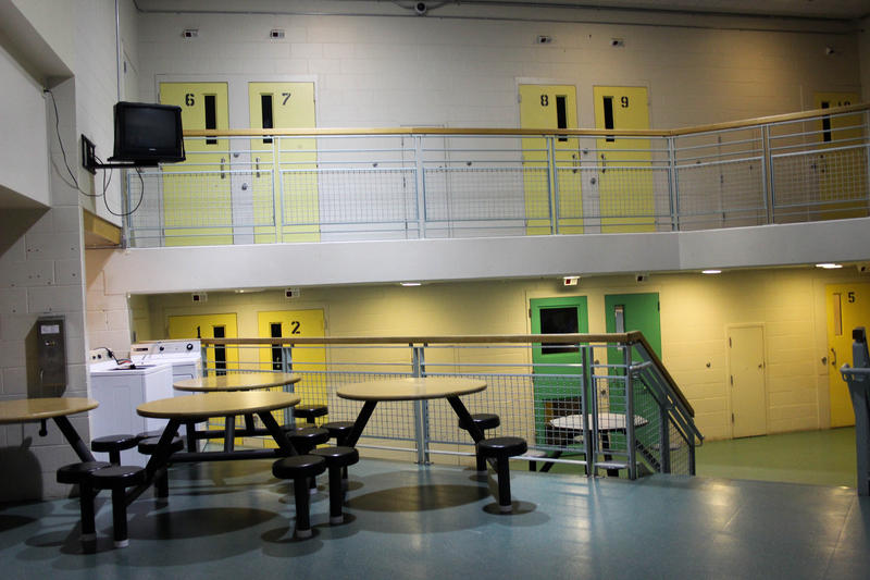 One of the halls at juvenile detention in Seattle. There are 212 beds but less than a quarter of those beds are used.