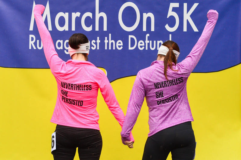 "Participants strike a pose at the ""March On"" 5K, a fundraiser for Planned Parenthood organized by local activist Celeste Banks and her 10 closest friends."