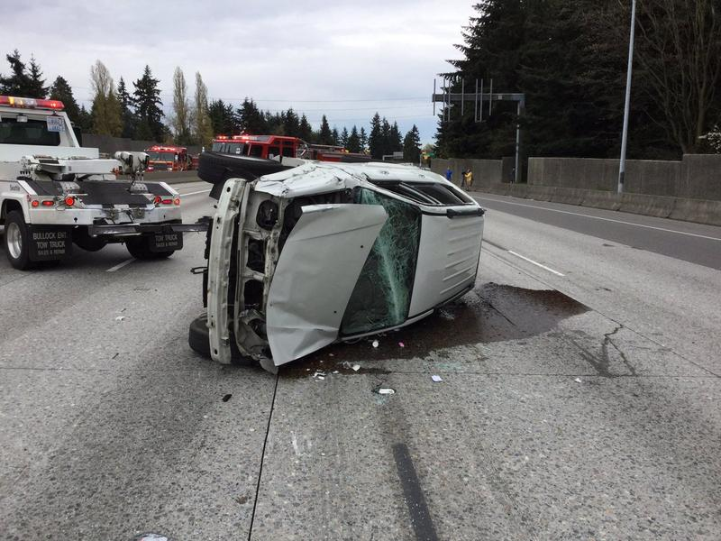 A rollover accident on Interstate 5 on Saturday morning.