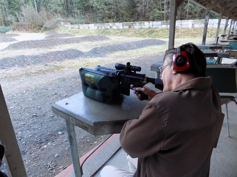 KUOW host Bill Radke visits a gun range and learns how to shoot a sem-automatic weapon.