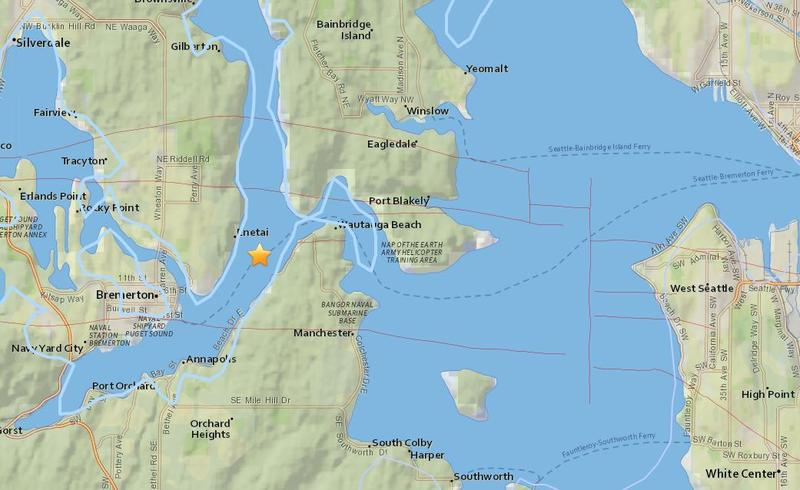 A screenshot from the U.S. Geological Survey earthquakes website shows the epicenter of a 3.4 earthquake near Bremerton, Wash., early Wednesday.