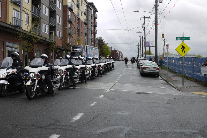 Seattle Police out in advance of immigrant rights march.