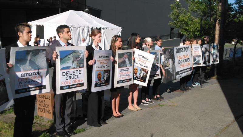 Animal rights advocates were one of many groups protesting outside Amazon's annual meeting