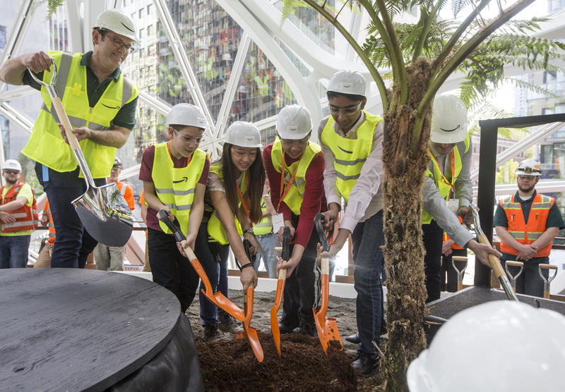 Students from the Environmental and Adventure School participate in the ceremonial first planting in The Spheres the Amazon campus on Thursday,