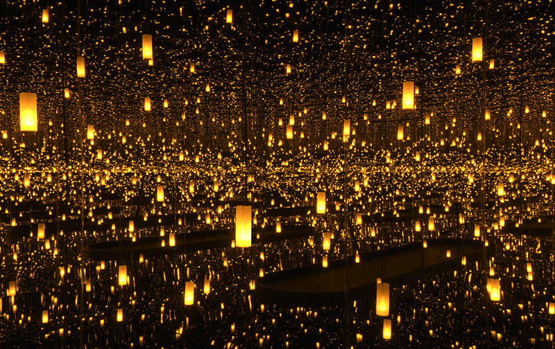 Infinity Mirrored Room—Aftermath of Obliteration of Eternity, 2009, at the Hirshhorn Museum and Sculpture Garden, Yayoi Kusama, Japanese, b. 1929, wood, mirror, plastic, acrylic, LED, black glass, and aluminum, Collection of the artist.