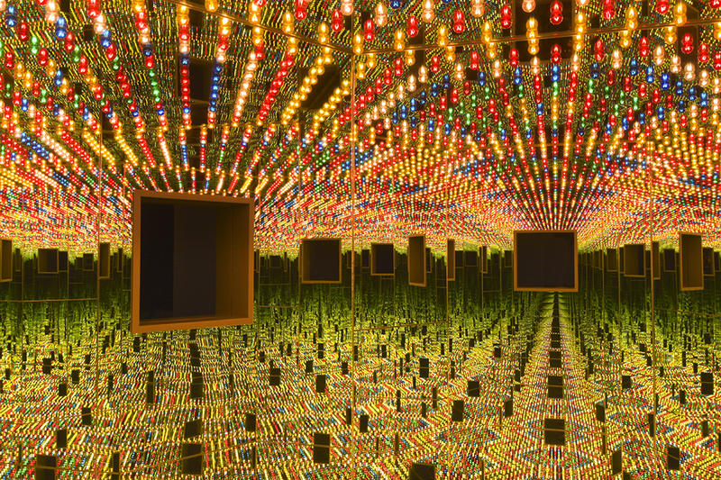 Infinity Mirrored Room—Love Forever, 1966/1994, at the Hirshhorn Museum and Sculpture Garden, Yayoi Kusama, Japanese, b. 1929, wood, mirrors, metal, and lightbulbs.