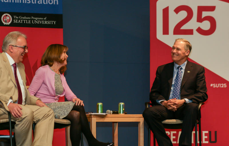 Larry Hubbell, Joni Balter and Governor Inslee at SU