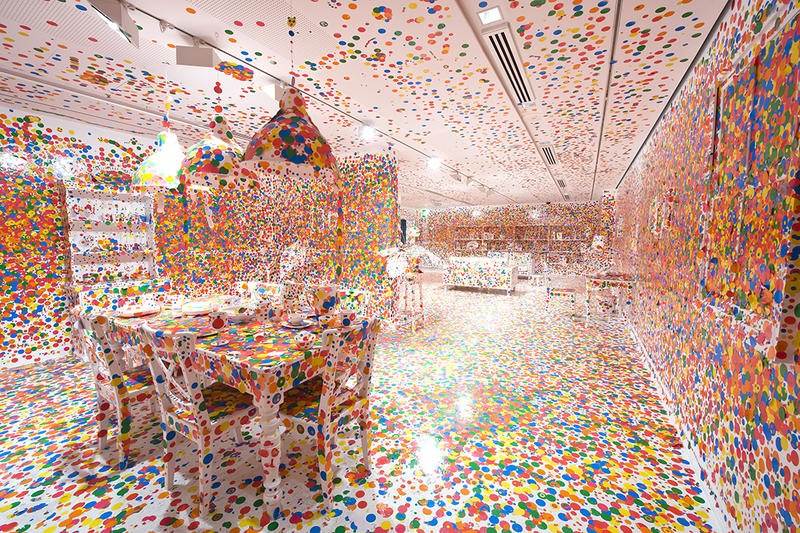 The Obliteration Room, 2002 to present, Yayoi Kusama, Japanese, b. 1929, furniture, white paint, and dot stickers, dimensions variable, Collaboration between Yayoi Kusama and Queensland Art Gallery, Commissioned Queensland Art Gallery, Australia.