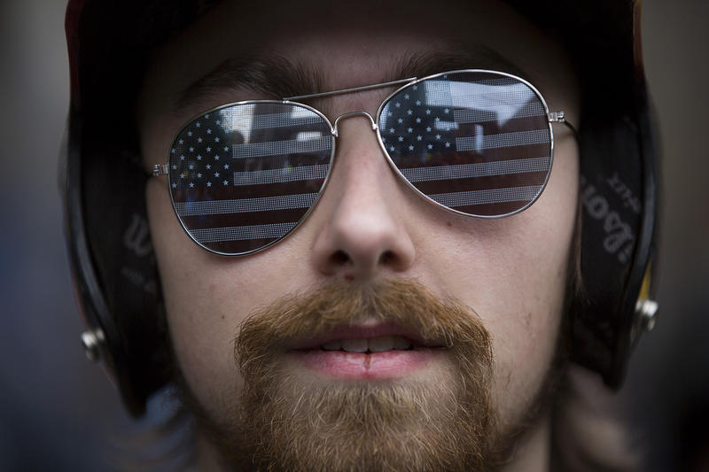 Josh Potter of Vancouver, Wash. attends a pro-Trump rally at Westlake Plaza in downtown Seattle on Monday, May 1, 2017.